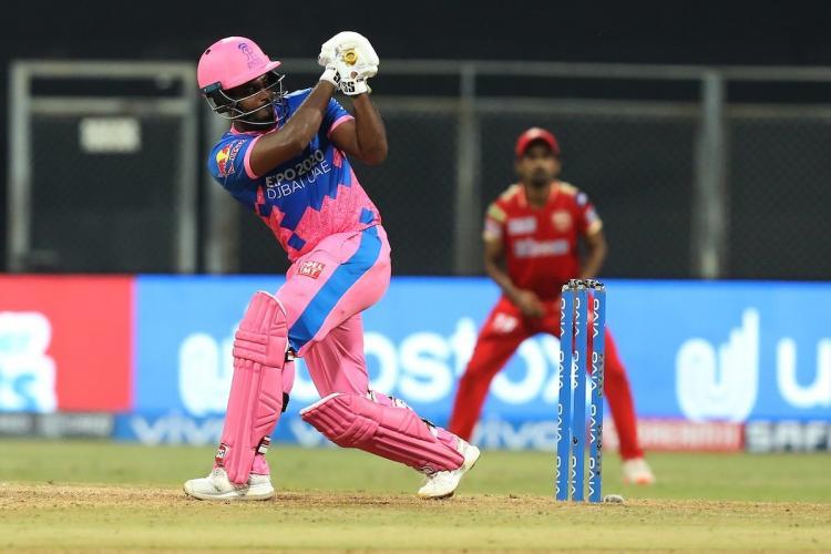 Sanju Samson plays an attacking shot