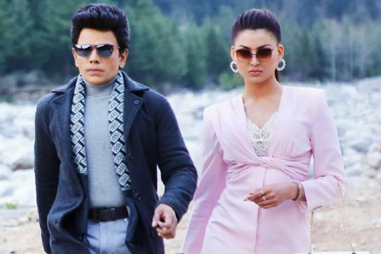 Saravanan seen in a jacket and scarf on the left and Urvashi donning a pink dress on the right
