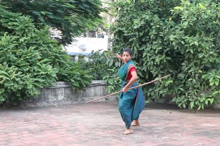 Acing silambam in a saree This Chennai woman combines beauty and strength in a six-yard wonder
