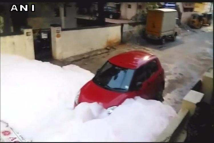 Watch Toxic chemical froth mixed with rainwater engulfs road in Hyderabad residential area