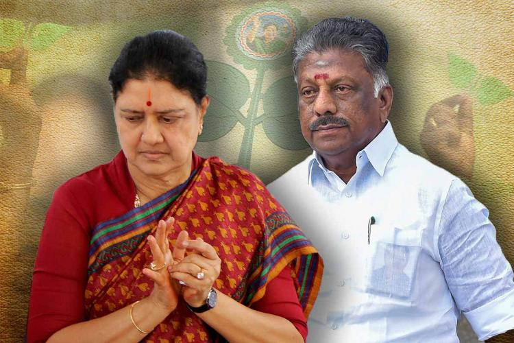 Former AIADMK VK Sasikala on the left and Tamil Nadu Deputy CM O Panneerselvam on the right