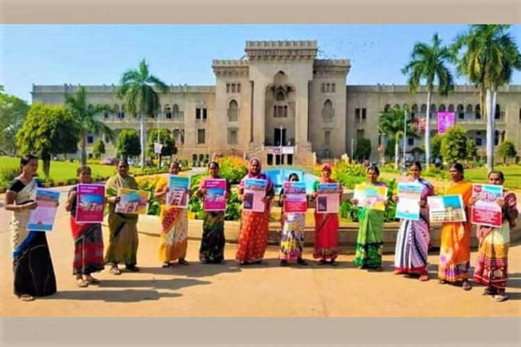 Osmania University sanitation workers took part in Save OU campaign by students