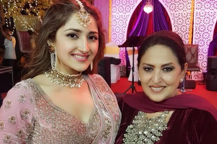 In pics Actor Sayyeshaa dances at her sangeet celebrity guests attend
