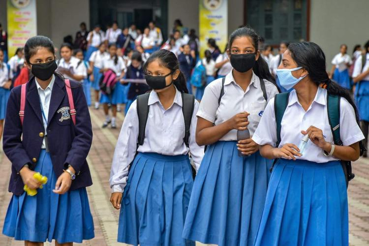 School students with masks