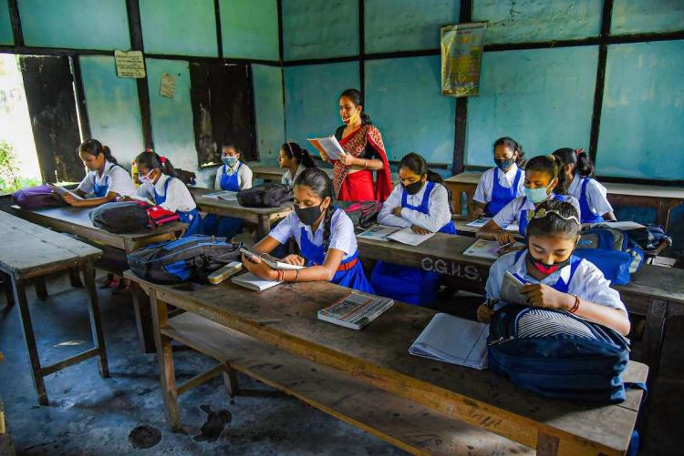 School students attending classes in Tamil Nadu