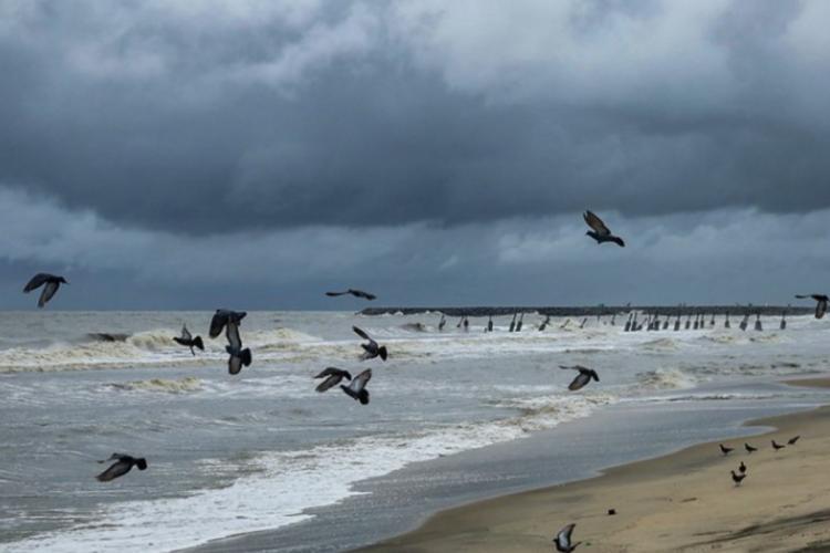 Rain clouds over Kozhikode beach in Kerala