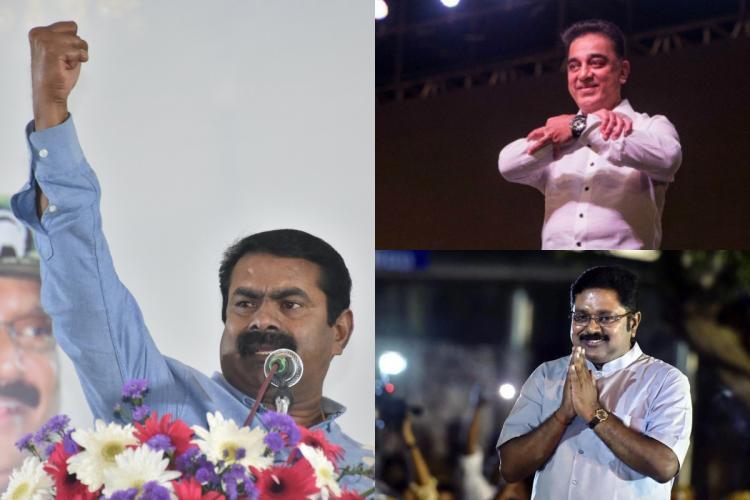 Naam Tamilar Katchi founder Seeman MNM founder Kamal Haasan and AMMK chief TTV Dhinakaran