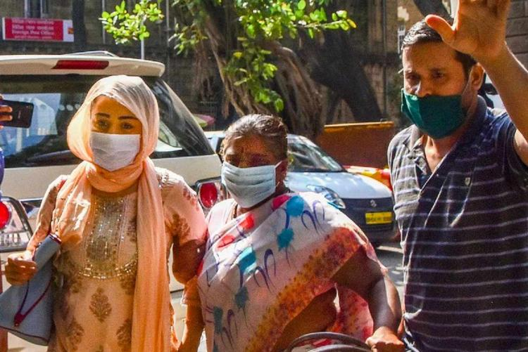 Shabana Saeed wife of Bollywood producer Firoz Nadiadwala arrives at NCB office after being arrested in a drugs case