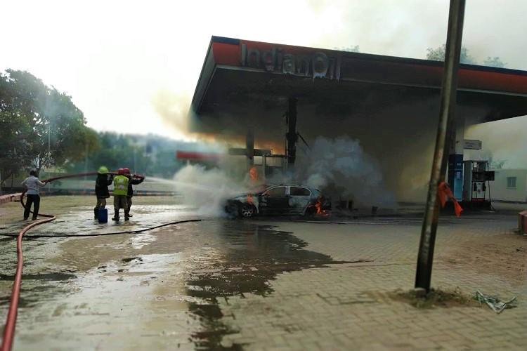Video Fire at Hyderabad petrol bunk as car goes up in flames no casualties reported