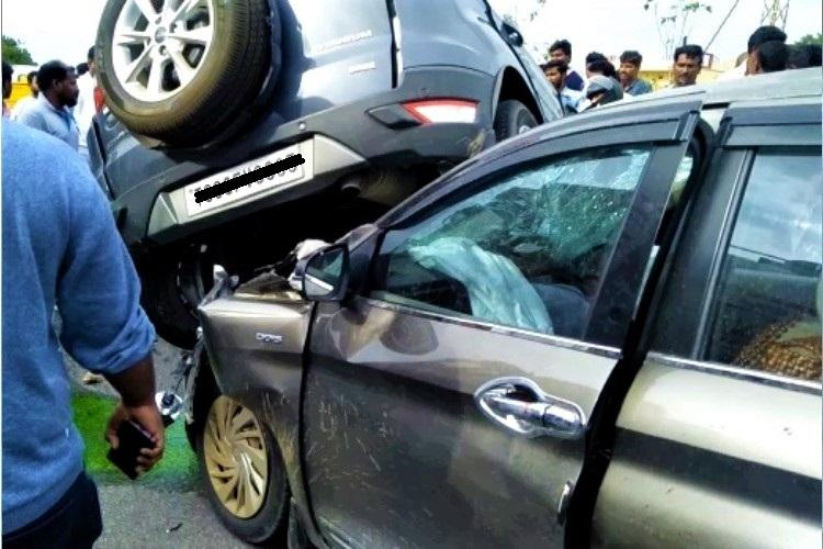 3 killed after speeding car overturns rams into another vehicle near Hyderabad
