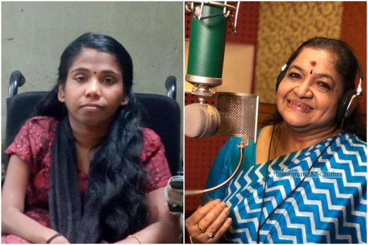 A collage of a woman with disability on a wheelchair and noted singer KS Chithra