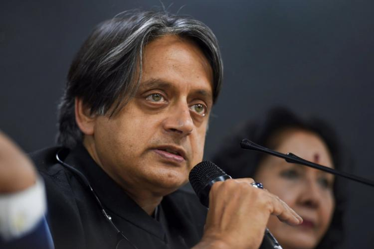 File image of Congress leader Shashi Tharoor as he addresses a press conference at AICC headquarters