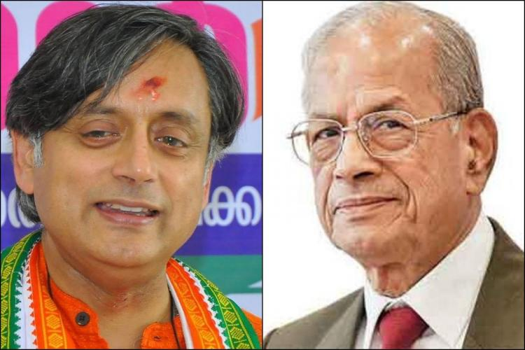 Collage of Tharoor wearing orange kurtha and saffron mark on forehead smiling and Sreedharan wearing a brown suit and red tie and specs