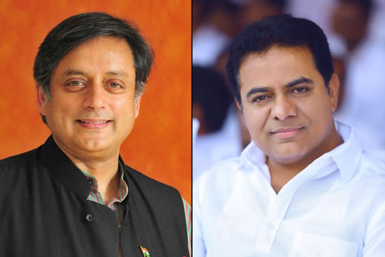 Collage of Shashi Tharoor in black and KTR in white