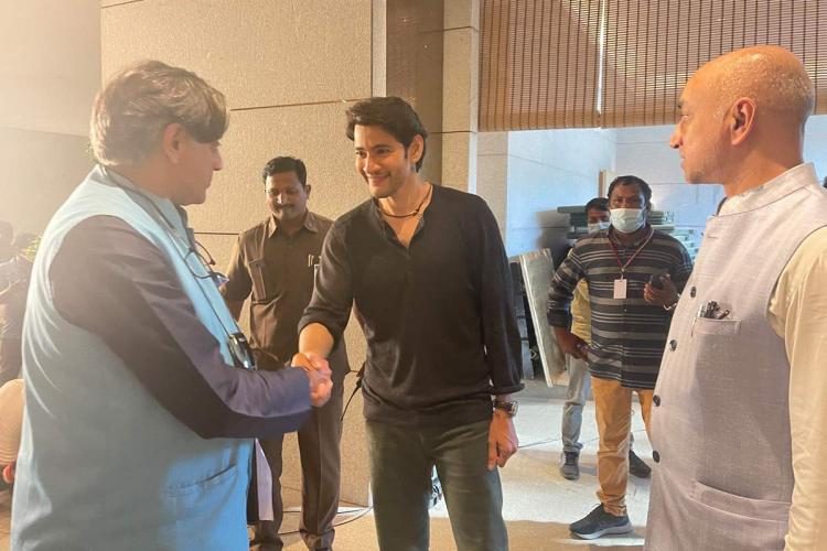 Congress leader Shashi Tharoor and actor Mahesh Babu are seen greeting each other, while Telugu Desam Party MP Jayadev Galla is also seen in the photo.