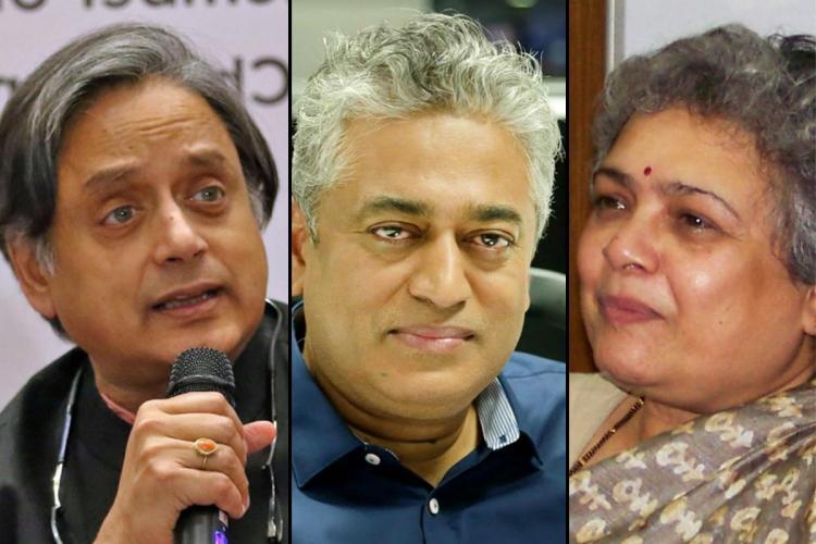 Collage of Shashi Tharoor, Rajdeep Sardesai and Mrinal Pande