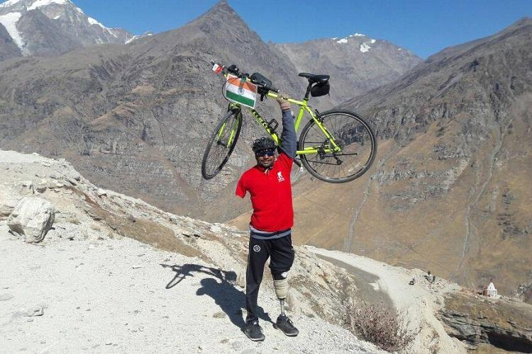 This Hyderabad para-athlete is on an incredible cycling journey from Leh to Kanyakumari