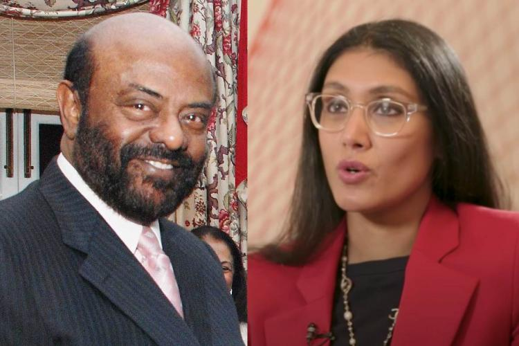 A collage of Shiv Nadar on the left and Roshni Nadar on the right
