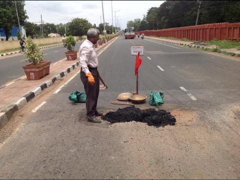 Road doctor The Hyderabad man who quit his job to fix potholes with his pension money