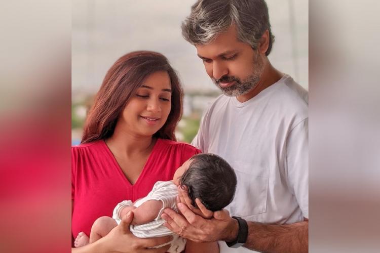 Shreya Ghoshal and husband Shiladithya holding their newborn son Devyaan Mukhopadhyaya