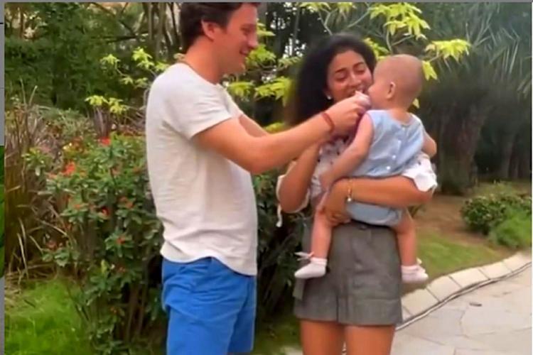 Shriya Saran and Andrei Koscheev with their baby