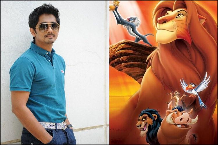 Siddharth to lend voice for Tamil version of The Lion King