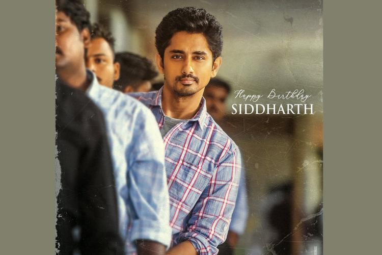 Actor Siddharth is seen wearing a checked shirt and is standing in a queue in the poster from Maha Samudram
