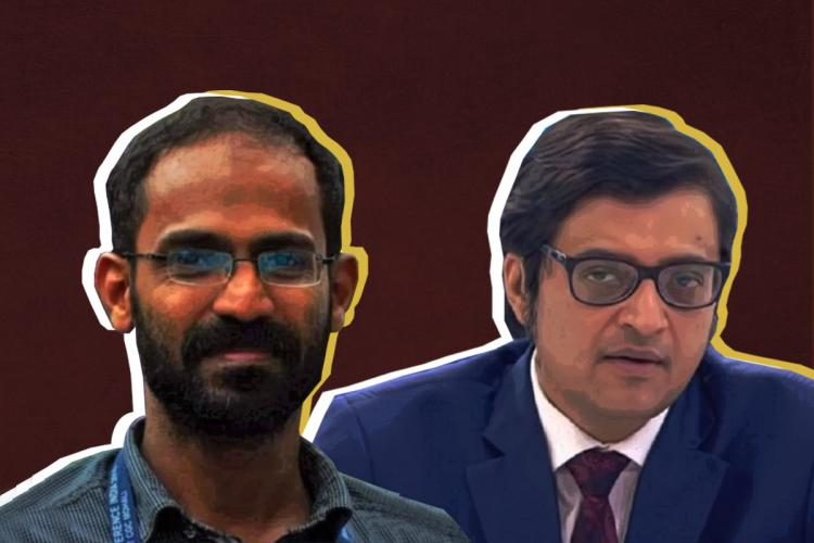 A stylised collage of Siddique Kappan and Arnab Goswami against a maroon background