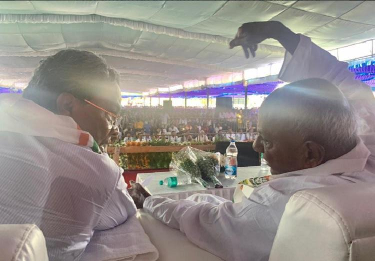 Deve Gowda Siddaramaiah hold joint rally in Mysuru Will it unite workers