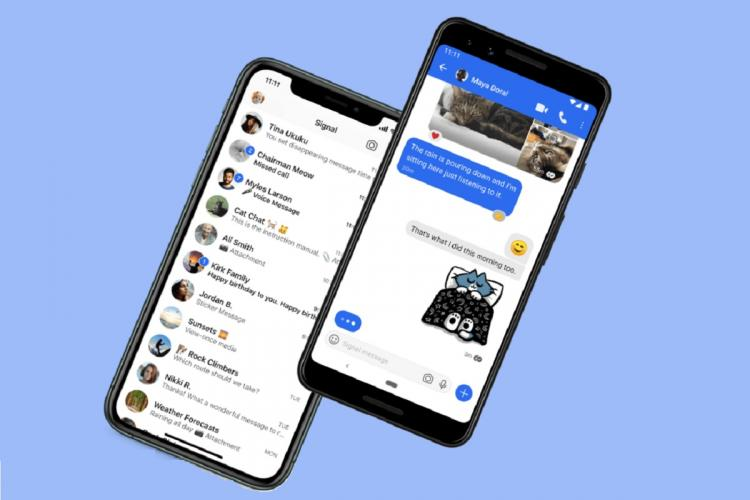 Representational image shows chats from the Signal app