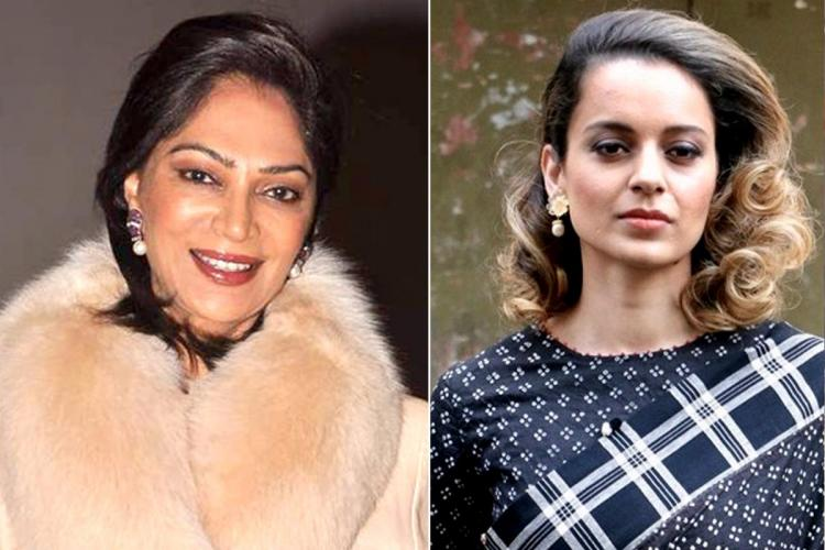 A collage of actor and popular TV talk show host Simi Garewal and actor Kangana Ranaut
