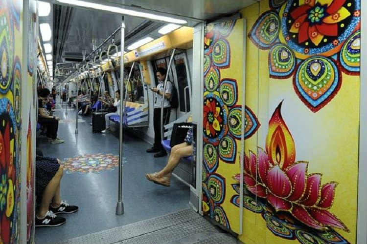 Deepavali across the sea Singapore is celebrating with a rangoli-bedecked train