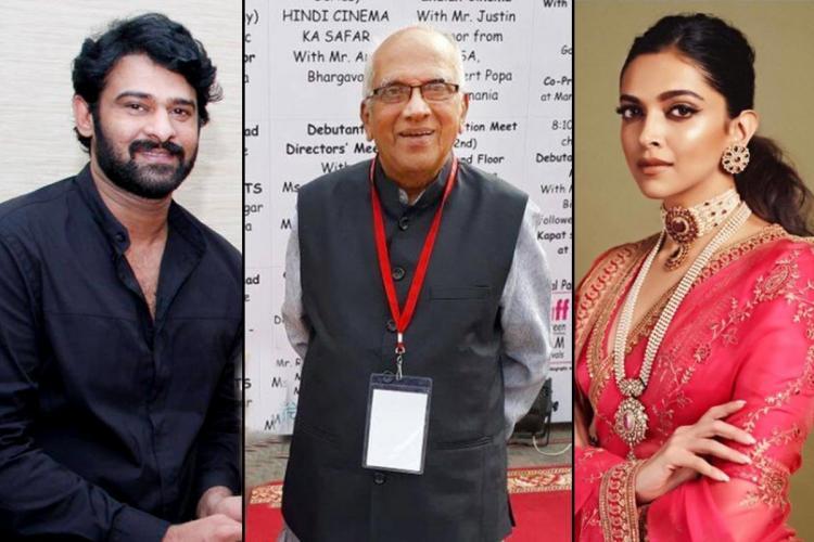 Collage of Prabhas, Singeetha and Deepika Padukune
