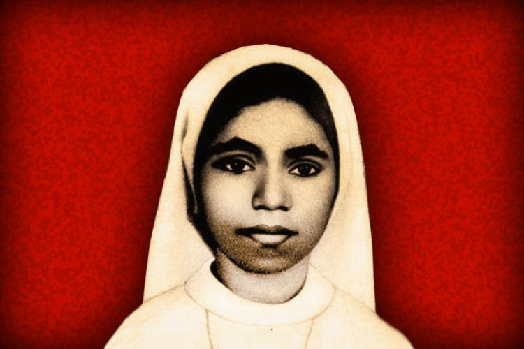 Sister Abhaya against a red background