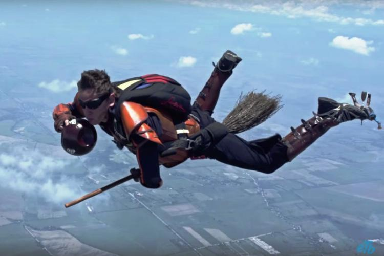Watch Skydivers play a game of Quidditch after jumping out of an airplane