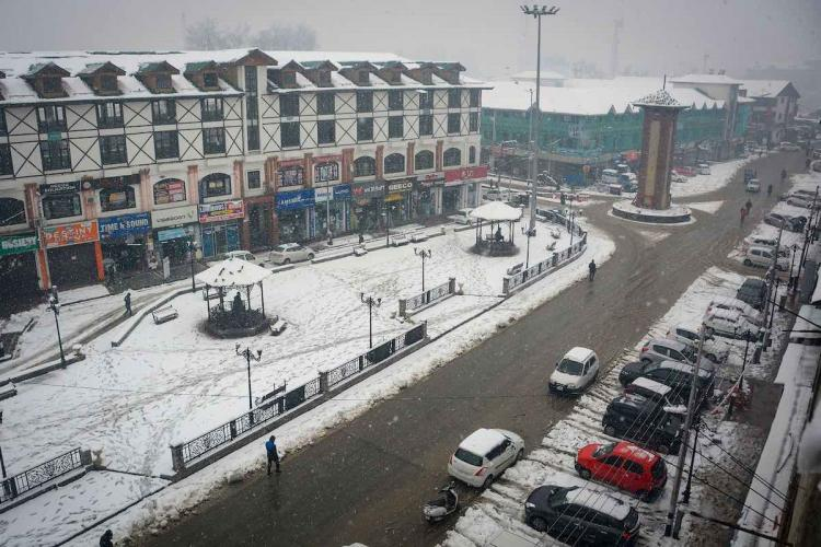 A view of Lal Chowk covered in snow in Srinagar Jammu and Kashmir on Friday Dec 13 2019