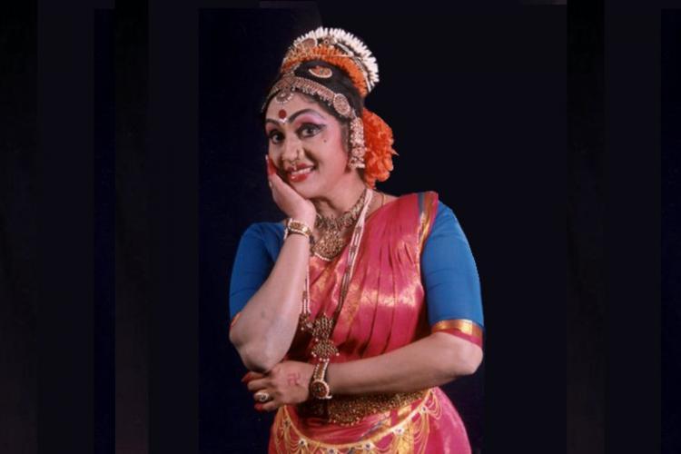 Kuchipudi Dancer Sobha Naidu at a performance in a pink and blue costume