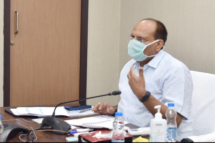 Telangana Chief Secretary Somesh Kumar speaks at a meeting