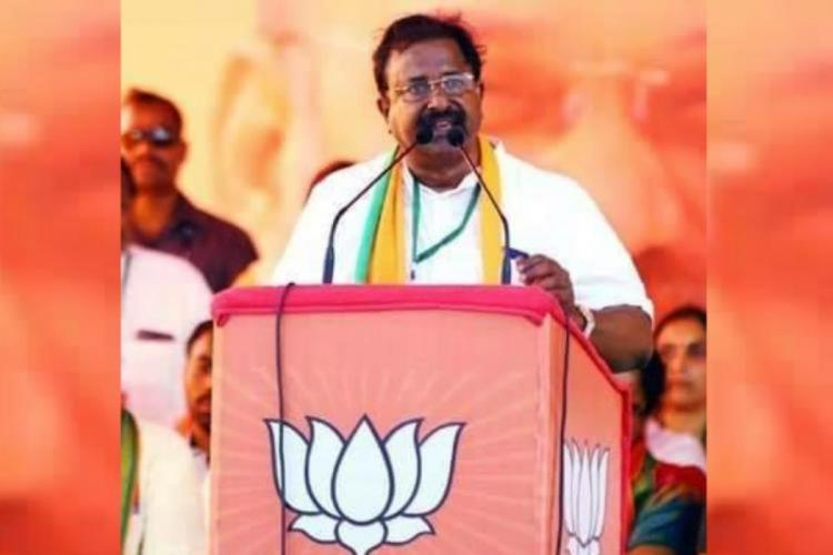File image of BJP state chief Somu Veerraju speaking at a meeting