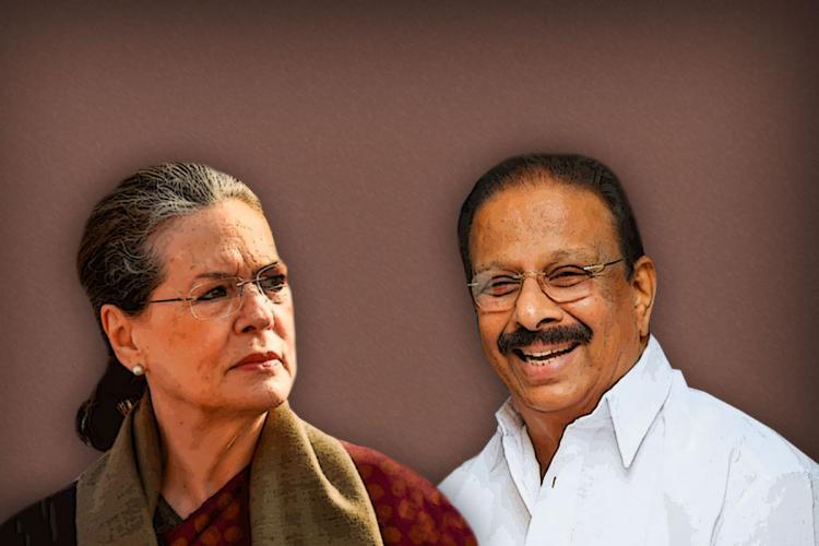 Sonia Gandhi on the left and KPCC president Sudhakaran on the right