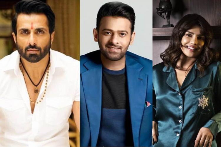 Collage of actors Sonu Sood Prabhas and Priyanka Chopra who made it to Eastern Eyes top Asian celebrities list