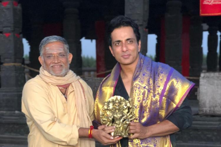 Photo of actor Sonu Sood being felicitated with a shawl by Tanikella Bharani