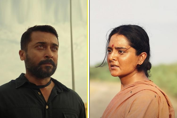 Suriya from Soorarai Pottru on the left and Manju Warrier from Asuran on the right