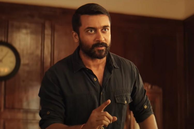 Suriya in Soorarai Pottru trailer wearing a black shirt