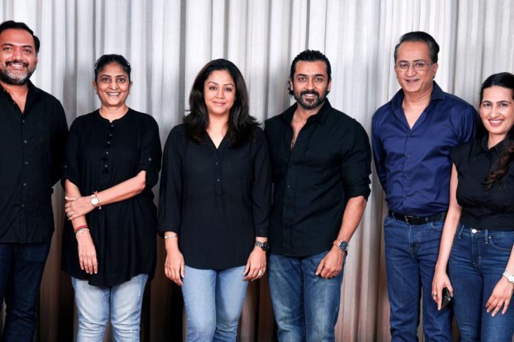 Actors and producers Jyotika, Suriya and director Sudha Kongara along with the producers of the Hindi remake of Soorarai Pottru