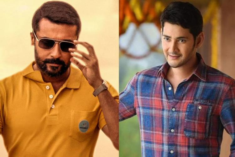 Suriya in orange T shirt with googles and Mahesh Babu in a blue checks shirt posing for a picture