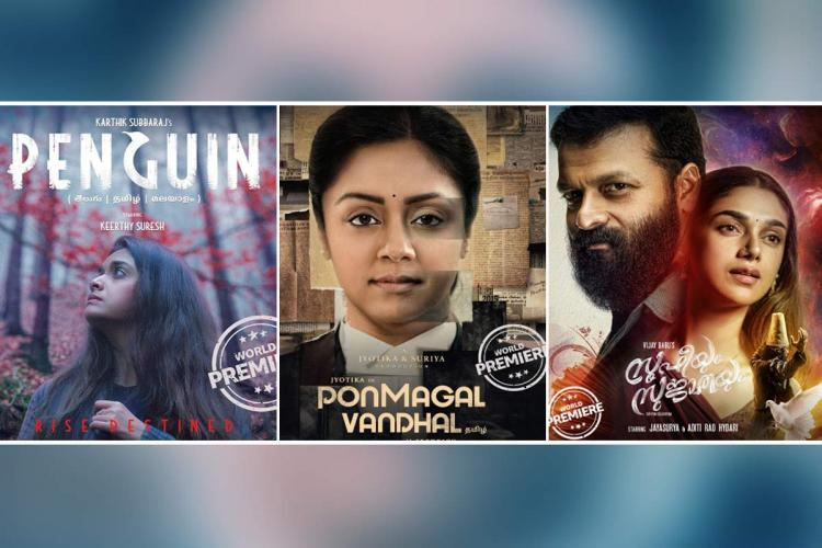 collage of movie posters Penguin Ponmagal Vandha Sufiyum Sujathayum