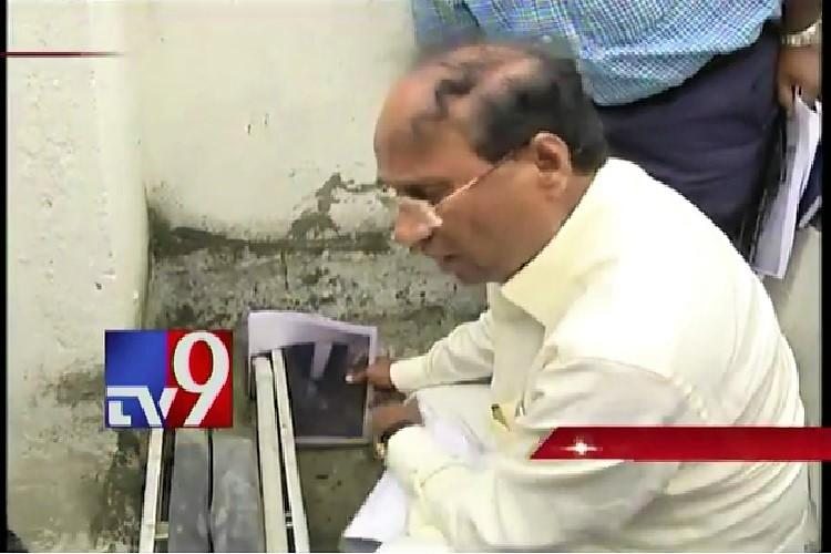 Armed with photos of pipes Andhra Speaker cries conspiracy over water leak in Jagans office