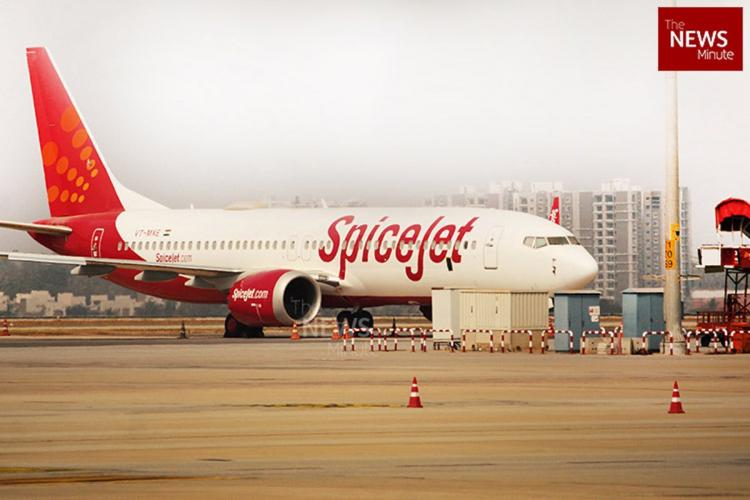 A SpiceJet aircraft at the Bengaluru airport