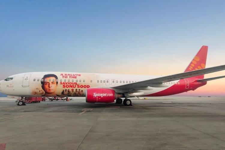 SpiceJet aircraft with livery on Sonu Sood